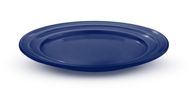 Leere blaue platte auf weiß