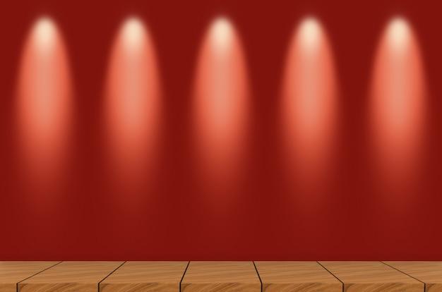 Leere braune täfelung in der montageart mit modernem lampenlicht auf roter wand