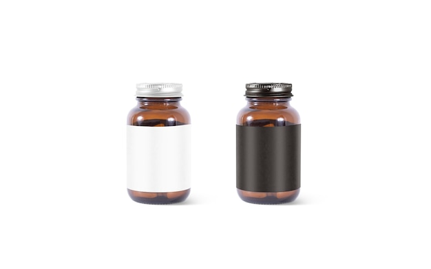 Leere braunglas-tablettendose mit schwarz-weißem etikettensatz