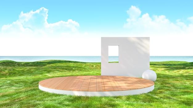 Leere bühnenplattform im grünen grasfeld mit meerblickhintergrund