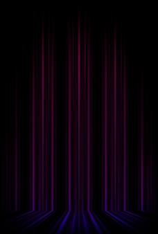 Leere bühnenwand in lila farbe, scheinwerfer, neonstrahlen. abstrakte wand von neonlinien und strahlen. abstrakte wand mit linien und glühen. leere bühne die reflexion von neonlichtern