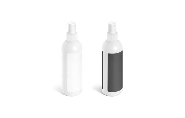 Leere deo-flasche mit schwarz-weiß-etikett isoliert