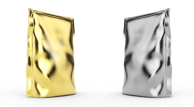 Leere folie weiße plastiktüte kaffee isoliert auf weißem hintergrund. mockup-sammlung von verpackungsvorlagen. 3d-rendering. bereit für ihr design. 3d-rendering