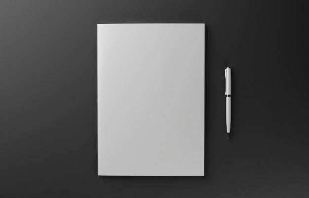 Leere fotorealistische broschürenabdeckung lokalisiert auf rotem hintergrund, 3d-illustration.