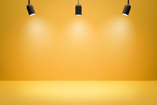 Leere fotostudio-hintergründe und scheinwerfer auf gelbem raumhintergrund mit zeigender szene. gelbes display oder leerer raum. 3d-rendering.