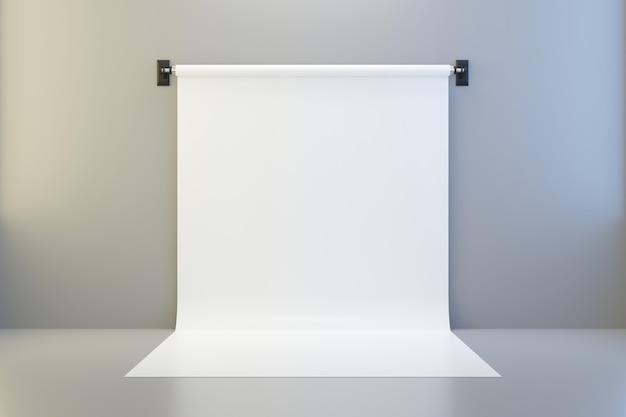 Leere fotostudiohintergründe auf scheinwerferraumhintergrund mit schablone zeigen. 3d-rendering.