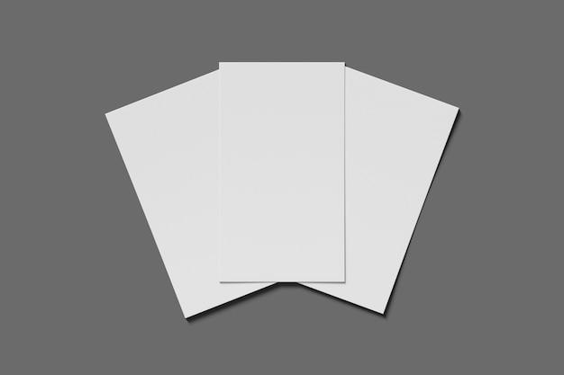 Leere geschäfts- oder visitenkarte mit drei modellen auf grauem hintergrund. 3d-rendering