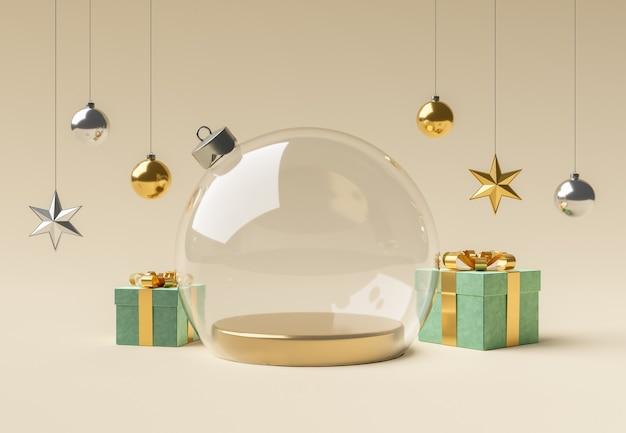 Leere glasweihnachtskugel mit ornamenten für die produktpräsentation