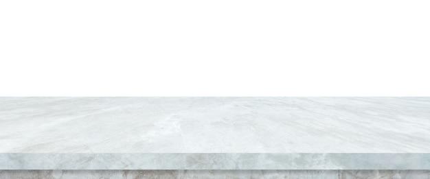 Leere graue zementsteintabelle lokalisiert auf weißem hintergrund, fahne