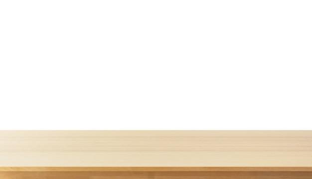 Leere helle hölzerne tischplatte lokalisiert auf weißem hintergrund