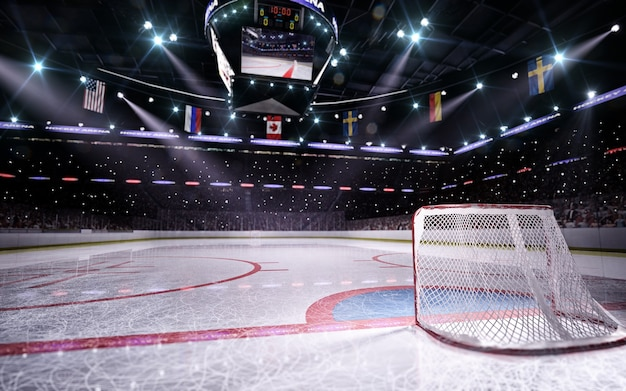 Leere hockeyarena in 3d rendern
