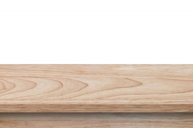 Leere hölzerne tabelle auf weißem hintergrund des isolats und anzeigenmontage