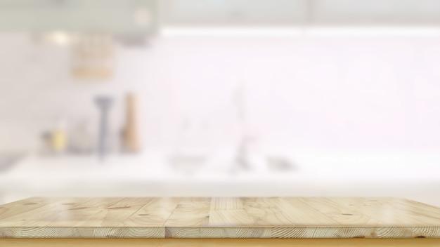 Leere hölzerne tabelle im küchenraum und im kopienraum für produkt- oder lebensmittelmontage