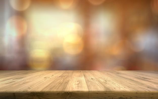 Leere hölzerne tischplatte auf defocus hintergrund