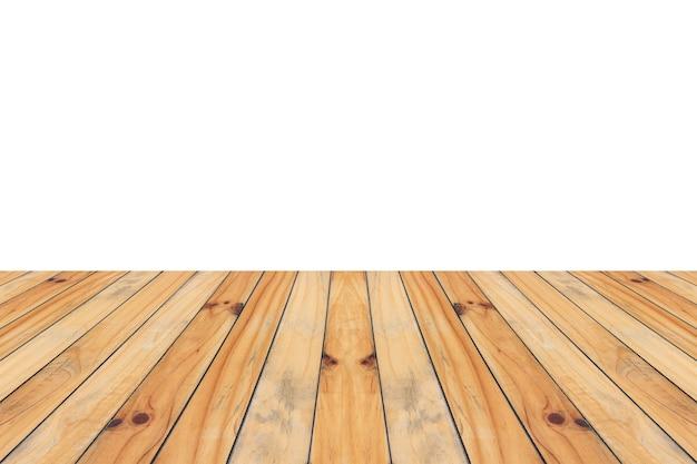 Leere hölzerne tischplatte lokalisiert auf weißem hintergrund für produktanzeigemontage