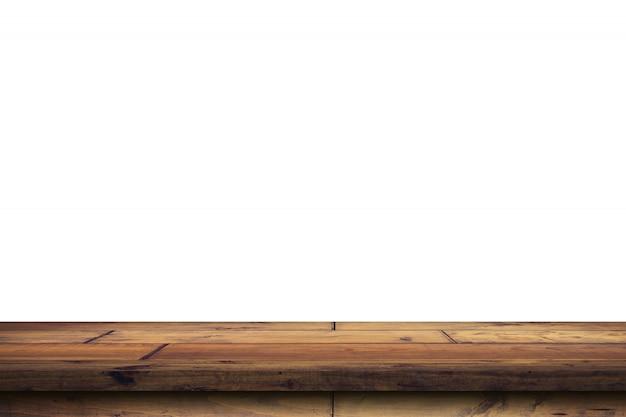 Leere hölzerne tischplatte