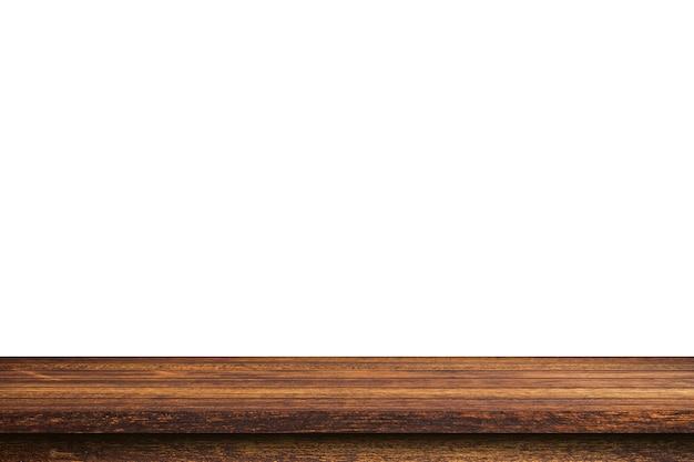 Leere holztabelle auf isoliertem weißem hintergrund und displaymontage mit kopierraum für produkt.