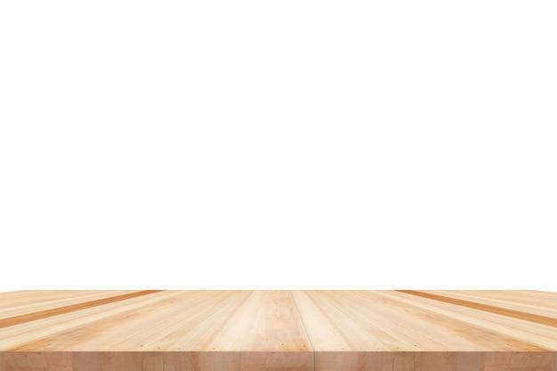 Leere holztischplatte isoliert auf weißem hintergrund, zur anzeige oder montage ihrer produkte verwendet