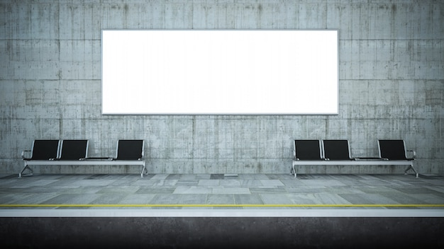 Leere horizontale plakatwerbung auf u-bahnstation