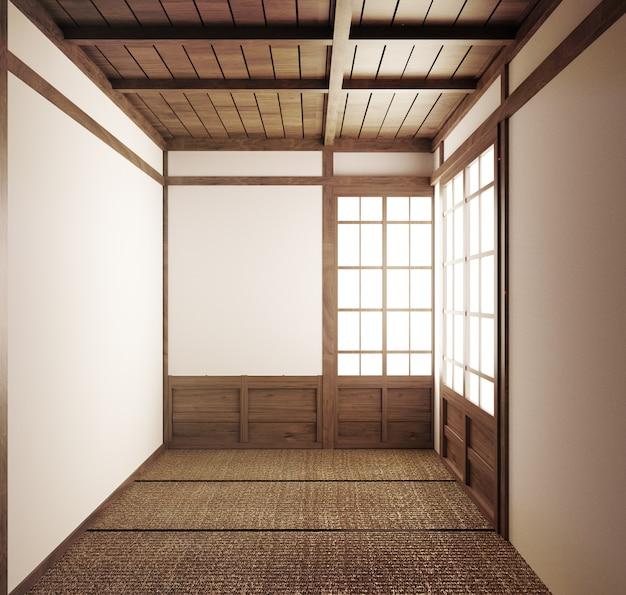 Leere japanische tatamimatten und papierschiebetüren mit dem namen shoji.3d-rendering