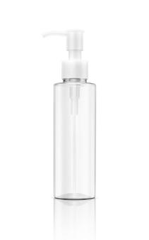Leere kosmetische klare transparente plastikflasche der verpackung lokalisiert
