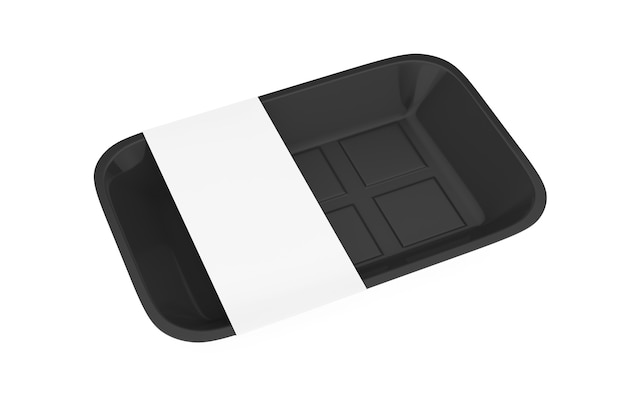 Leere lebensmittelverpackung aus schwarzem kunststoff mit leerem etikett für ihr design auf weißem hintergrund. 3d-rendering
