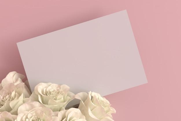 Leere leere karte mit weißer rose in einem rosa raum