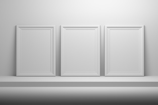 Leere leere weiße bilderrahmen des fotos a4 im regal.