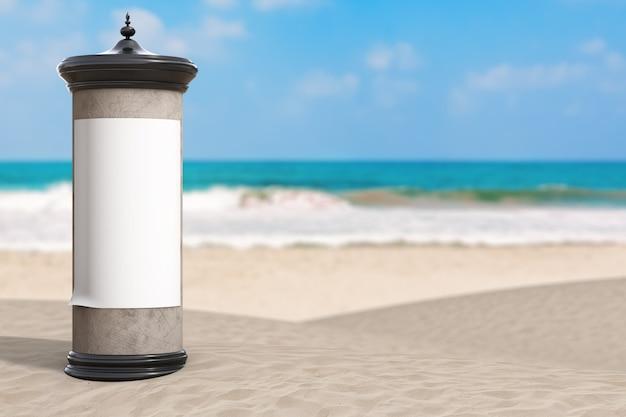 Leere leere zylindrische werbesäule billboard mockup mit freiem platz für ihr design am summer sand ocean beach auf weißem hintergrund. 3d-rendering