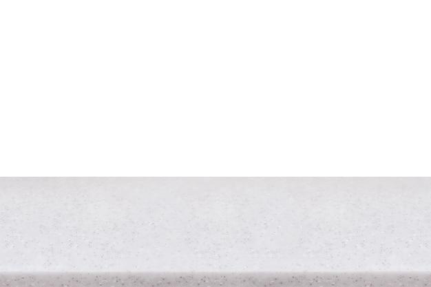 Leere marmorstein-tischplatte lokalisiert auf weißem hintergrund, zum erstellen der montageproduktanzeige