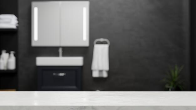 Leere marmortischplatte für die montage über modernes dunkles badezimmer oder toilettenhintergrund 3d-rendering