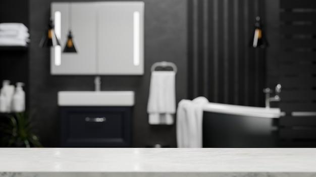 Leere marmortischplatte für montageanzeige in einem modernen luxuriösen schwarzen badezimmerinnenraum 3d-rendering