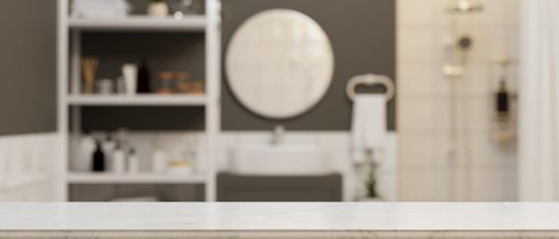 Leere marmortischplatte für montagemodell über modernes, komfortables badezimmer 3d-rendering