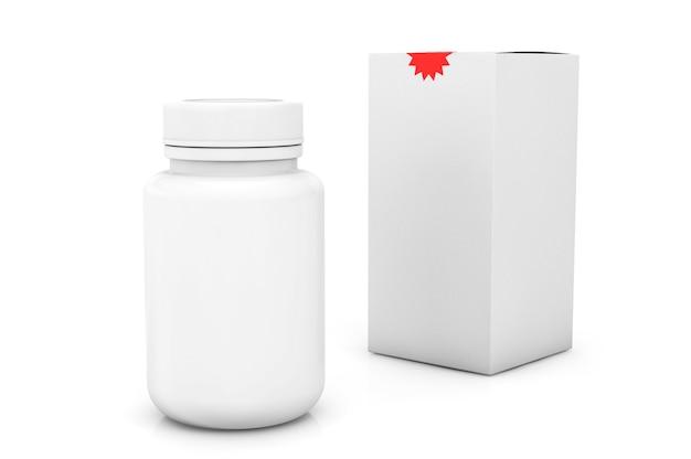 Leere medizinflasche mit box auf weißem hintergrund