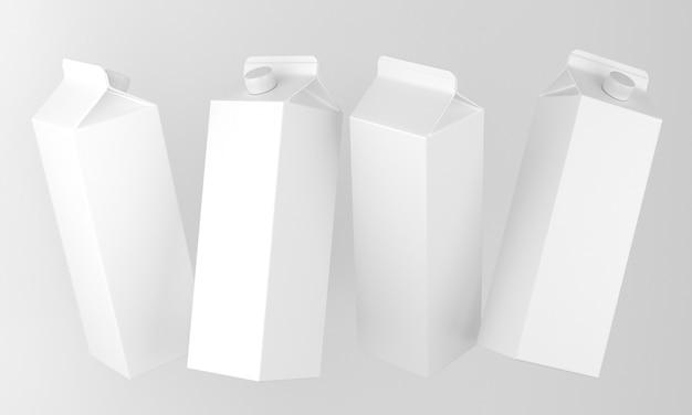 Leere milch- oder saftpakete in verschiedenen positionen