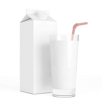 Leere milchkarton-box mit glas auf weißem hintergrund. 3d-rendering