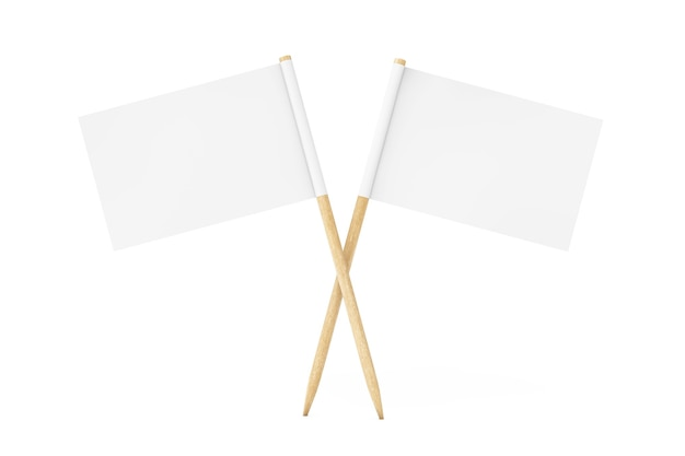 Leere mini-papier-zeiger-flags auf weißem hintergrund. 3d-rendering.