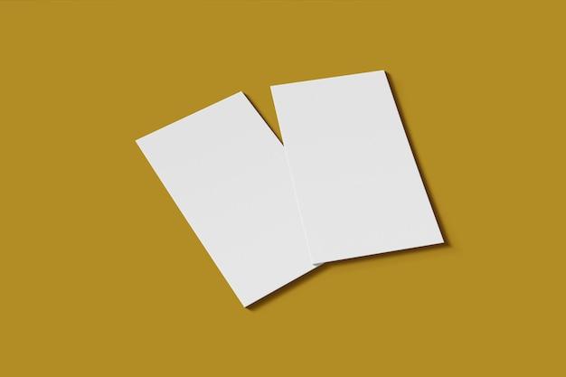 Leere mockup-geschäfts- oder visitenkarte auf einem gelben hintergrund 3d-rendering