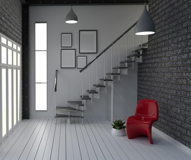 Leere, moderne innenarchitektur im loft-stil. 3d-rendering