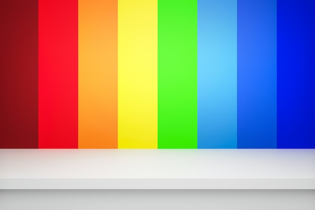 Leere obere tabelle auf abstraktem regenbogengradienten-mehrfarbenhintergrund mit buntem konzept. anzeige von raumregalen zum vorzeigen. realistisches 3d-rendering.