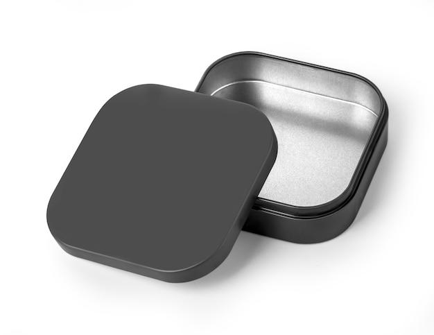 Leere offene schwarze metallbox