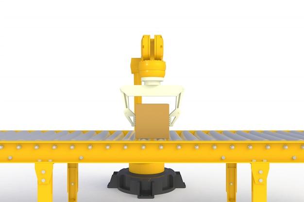 Leere pappschachtel auf der gelben fördererlinie lokalisiert auf einem weißen hintergrund