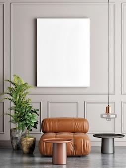 Leere plakat wohnzimmer zusammensetzung sessel und dekoration