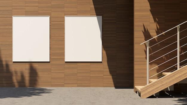 Leere plakatwand der 3d-illustration mit kopierraum für textnachricht oder inhalt, außenwerbemodell, öffentliches informationstafel auf stadtstraße, fsun licht. leerer leuchtkasten am rande der stadt