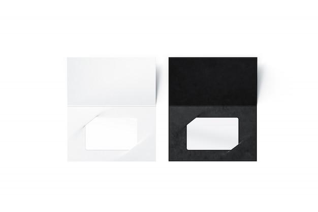 Leere plastikkarten in schwarz und weiß