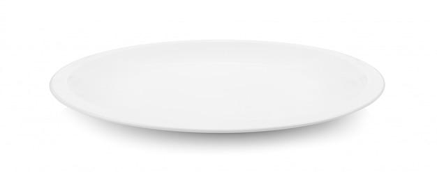 Leere platte auf weißem raum