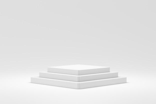 Leere podium- oder sockelanzeige auf weißem hintergrund mit treppenständerkonzept.