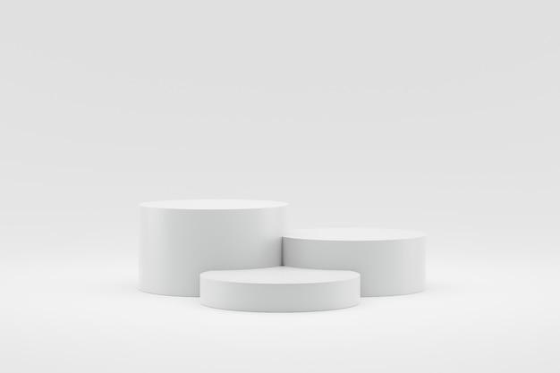 Leere podium- oder sockelanzeige auf weißem hintergrund mit zylinderständerkonzept.