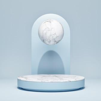 Leere podiumszene mit einer geometrischen form, blauem hintergrund, 3d rendern, 3d illustration