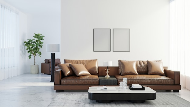 Leere posterrahmen im skandinavischen stil wohnzimmer interieur, moderne wohnzimmer interieur hintergrund, braunes ledersofa, 3d-rendering
